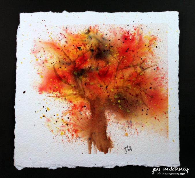Autumn tree loose watercolor