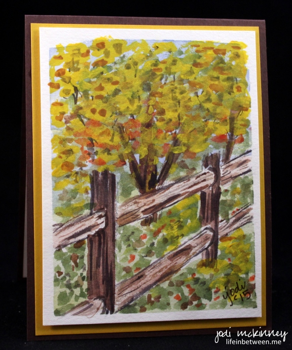 Fence and Autumn Tree Watercolor Card