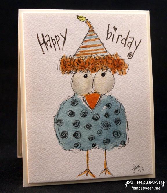 Happy Birday whimsical bird