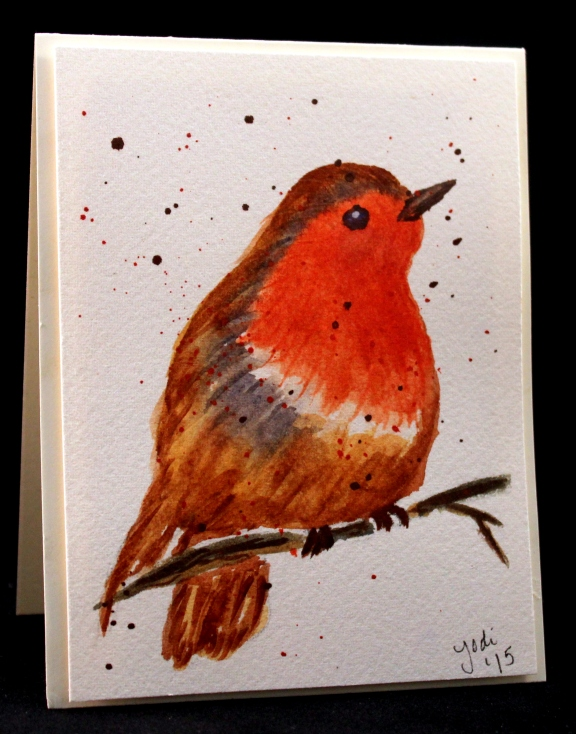 robin watercolor card