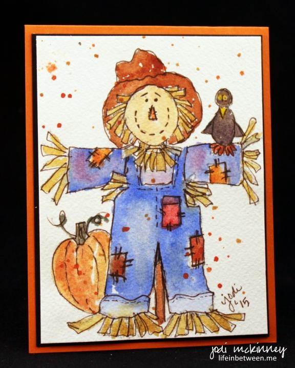 scarecrow halloween card watercolor doodlewash