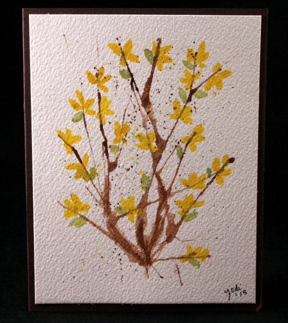 forsythia watercolor card