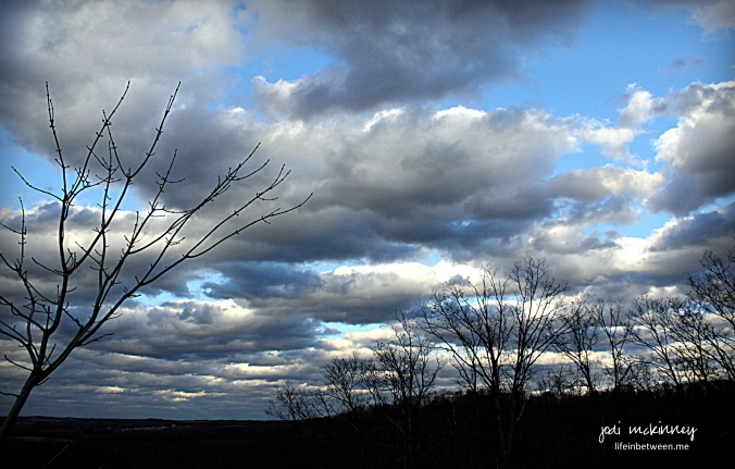 November clouds and blue sky