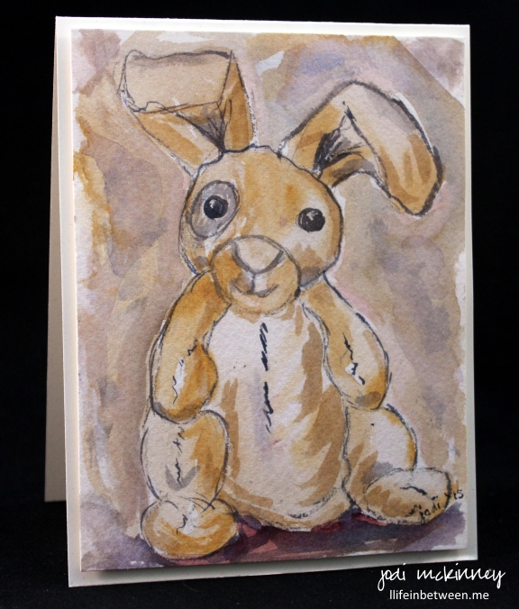 stuffed bunny watercolor card