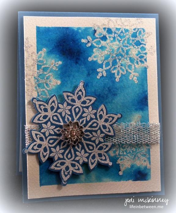 Turquoise Brusho Festive Flurry Sparkle Snowflake Card 2