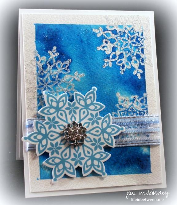 Turquoise Brusho Festive Flurry Sparkle Snowflake Card