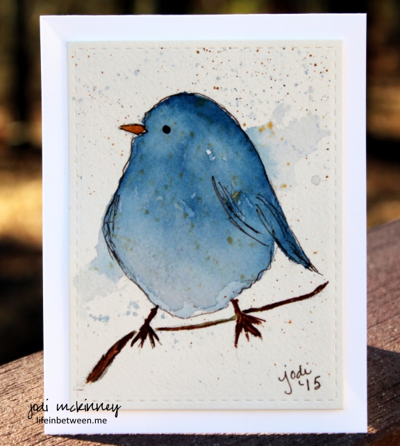 Winsor and Newton Prussian Blue Bird of Happiness Watercolor Card