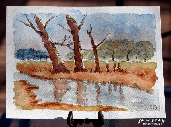 Woodland River Line and Wash Joanne Boom Thomas Watercolor Tutorial by Jodi McKinney First 9 x 12 1115 1