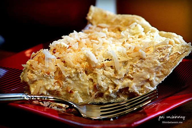 coconut cream pie slice