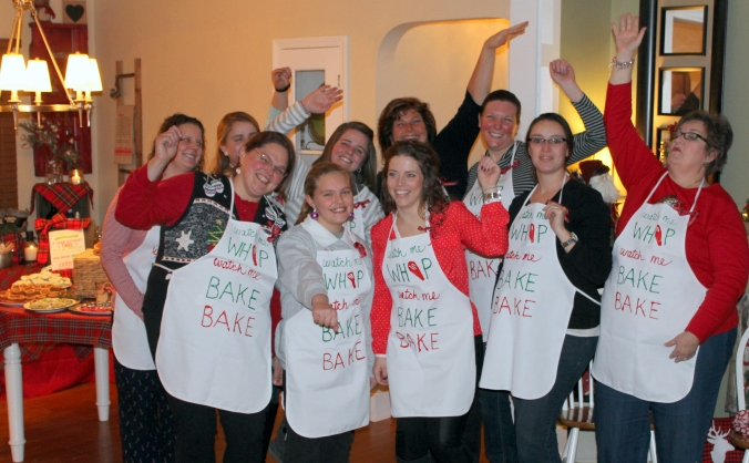Colleens Cookie Swap Group Photo Aprons Whip Nae Nae