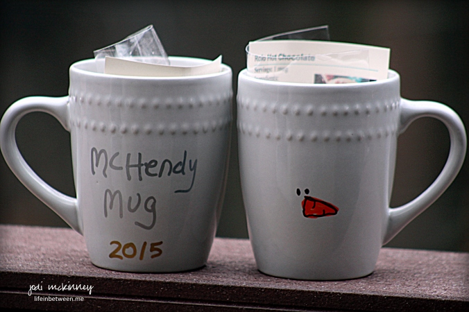 painted snowman mug