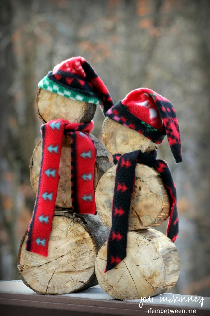 Wooden log snowmen christmas 2015 2