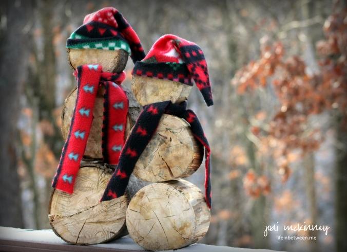 Wooden log snowmen christmas 2015