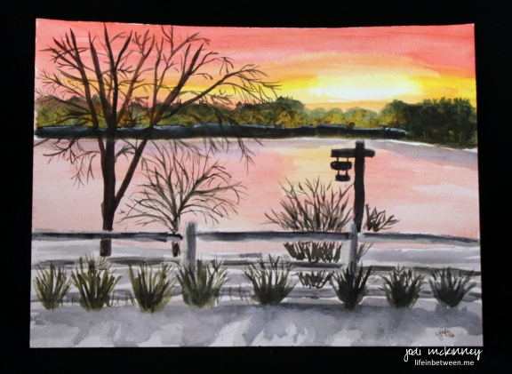 conneat lake snowy sunrise watercolor