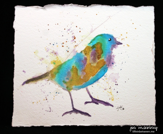 purple gold and turquoise bird watercolor