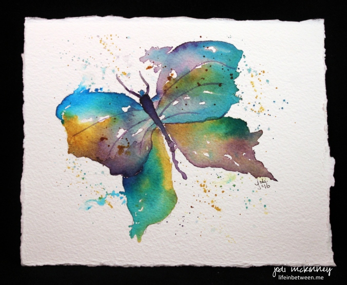 purple gold and turquoise butterfly watercolor