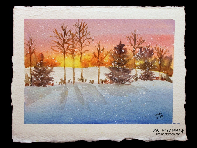 snowy tree landscape watercolor