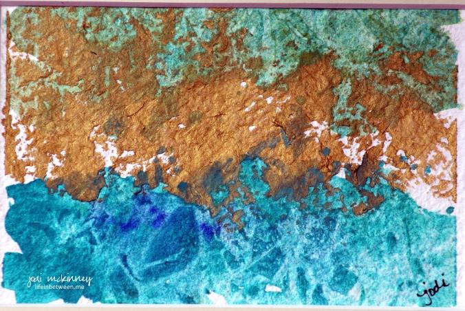 abstract cobalt teal and inka gold lifeinbetween