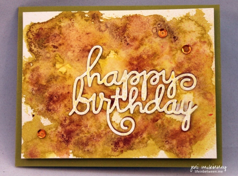 birthday card gold green brown watercolor abstract