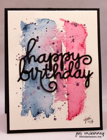 Birthday card red white blue black abstract watercolor