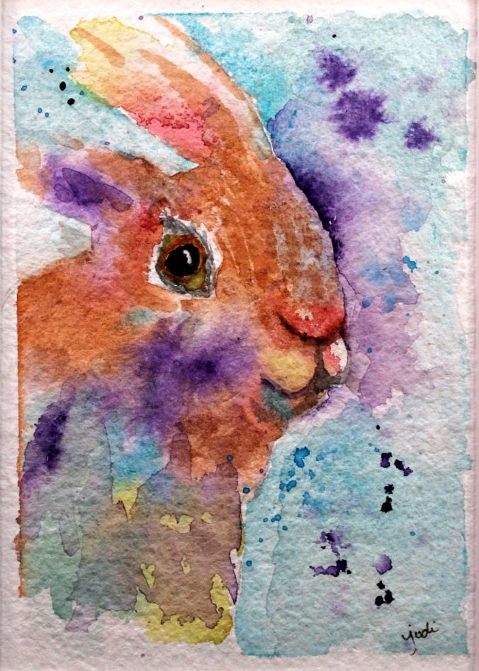 spring bunny watercolor 5x7