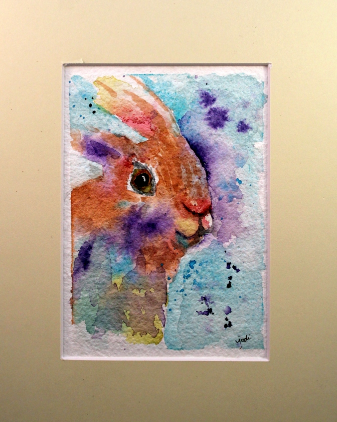 spring bunny watercolor matted