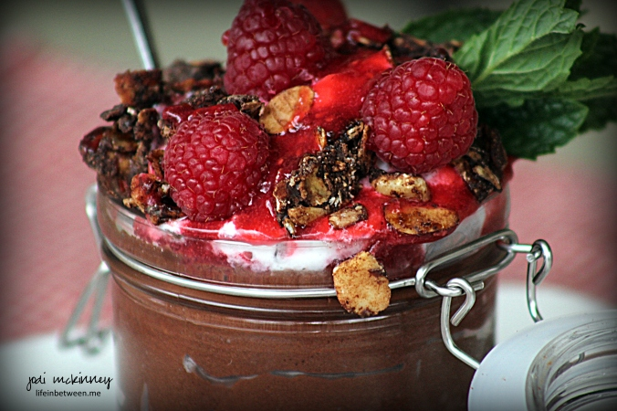chocolate and raspberry custard in a jar dessert 2