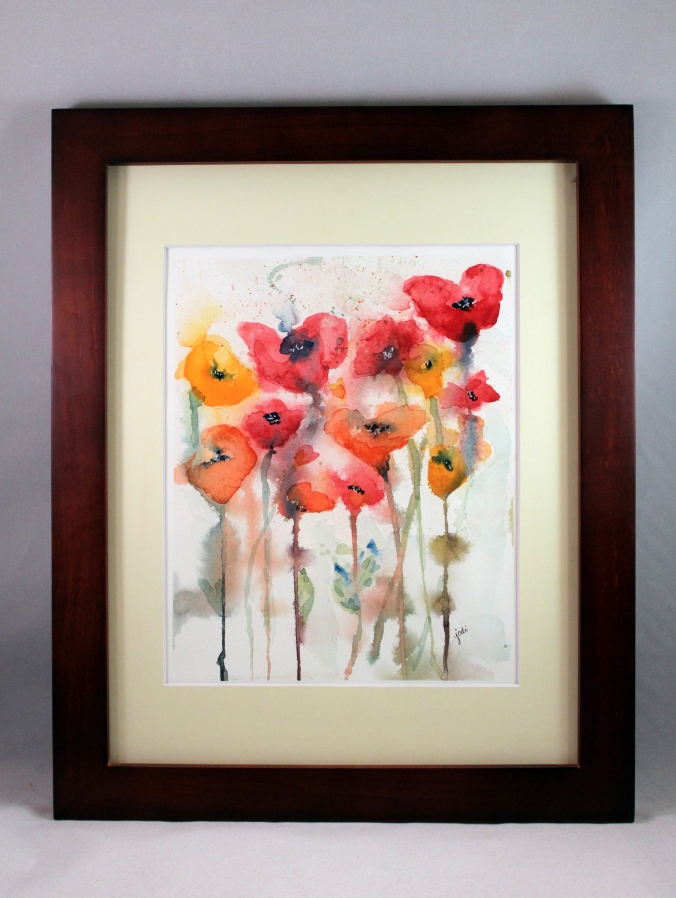 everything is popping up poppies 8 x 10 watercolor framed