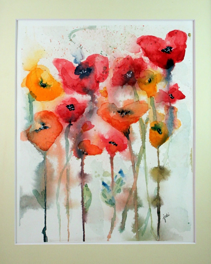 everything is popping up poppies 8 x 10 watercolor