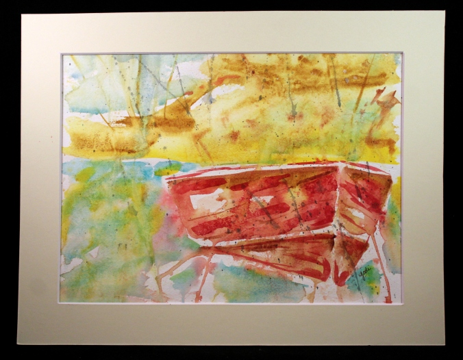 old red boat watercolor 10x12