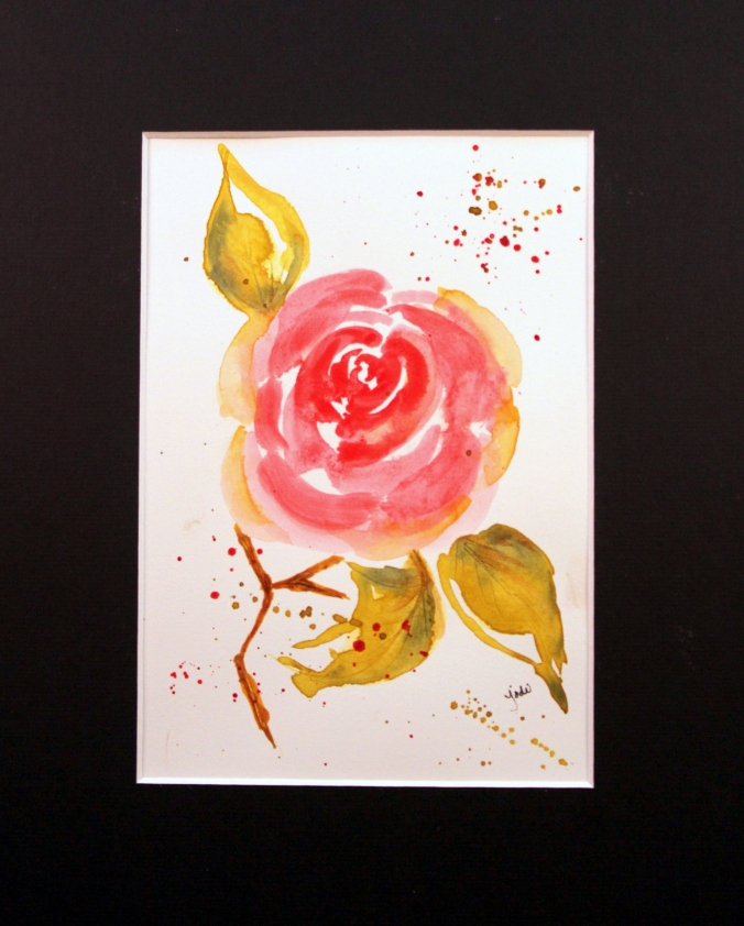 pink rose impressionist watercolor 5x7 matted 8x10 2