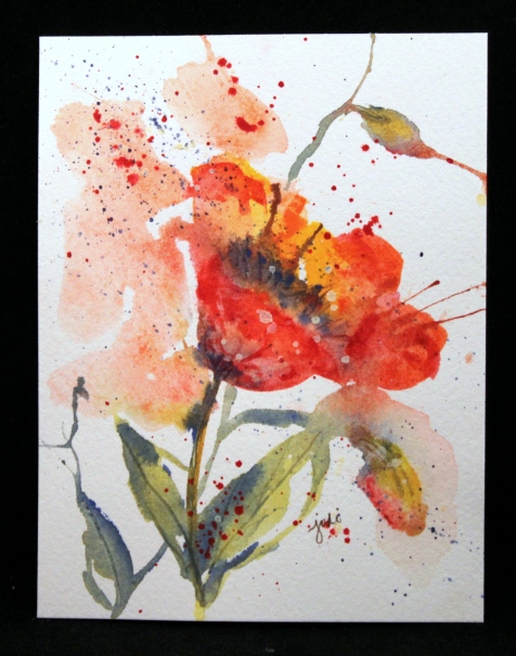 poppy watercolor original 4.25 x 5.5