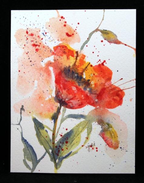 poppy watercolor original 4.25 x 5.5