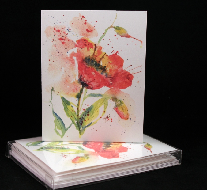 poppy watercolor original print cards set of 4 1