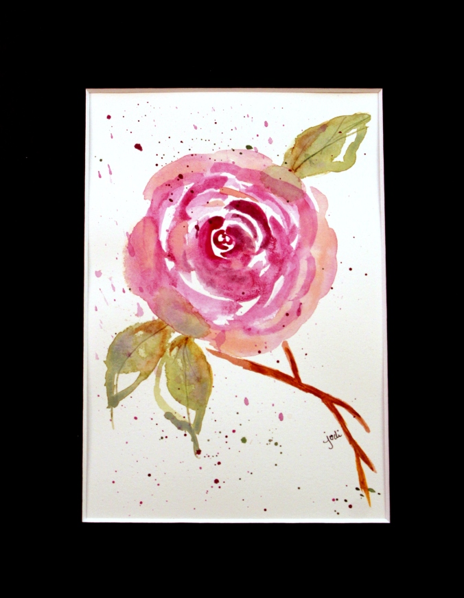 purple rose impressionist watercolor 5x7 matted xx10