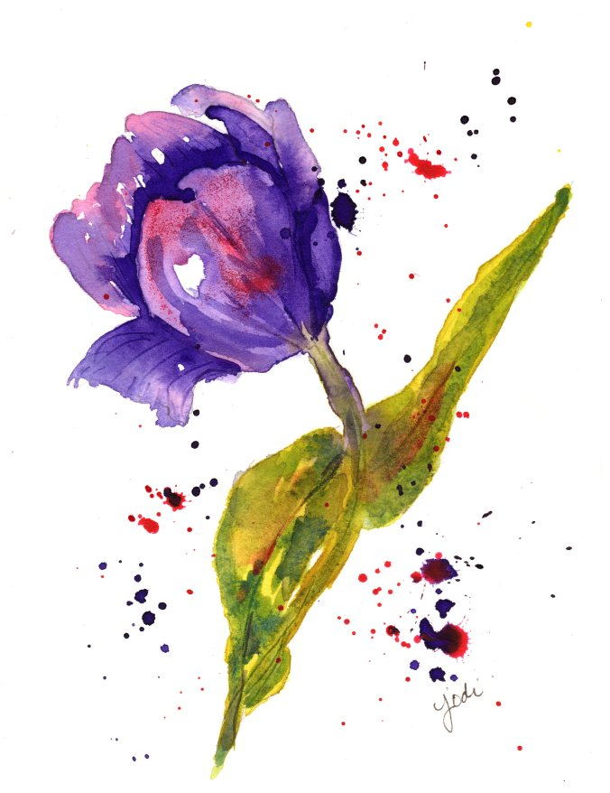 Single Purple Tulip Watercolor on Arches 140 lb Hot Press 5 x 7