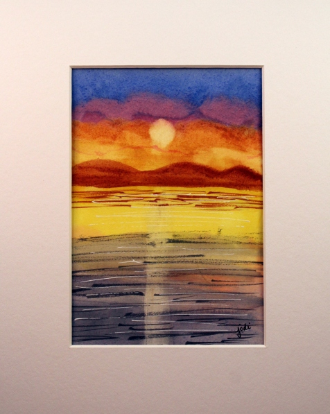Arches 140 lb hot press watercolor sunset