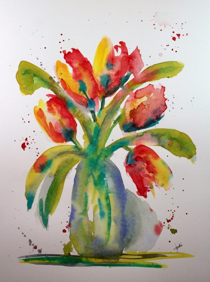 tulips impressionistic 9 x 12 original watercolor