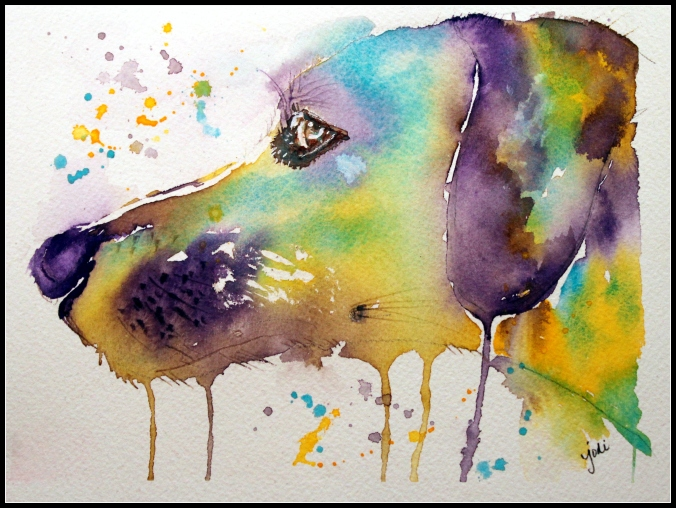 Charlie Dog Impressionistic Watercolor Jodi McKinney