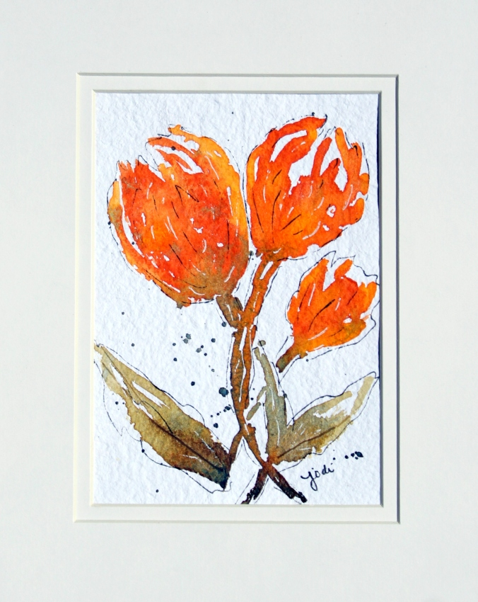 Orange Maybe Tulips Watercolor