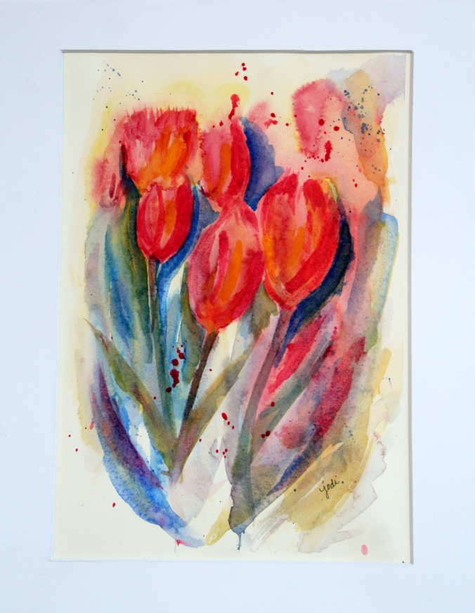 pink tulips impressionistic watercolor 9x12 matted to 11 x 14