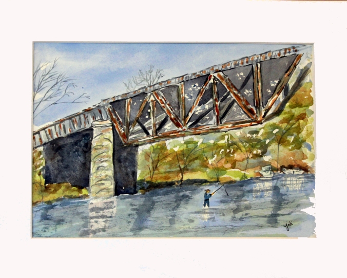 rusty old bridge watercolor original matted