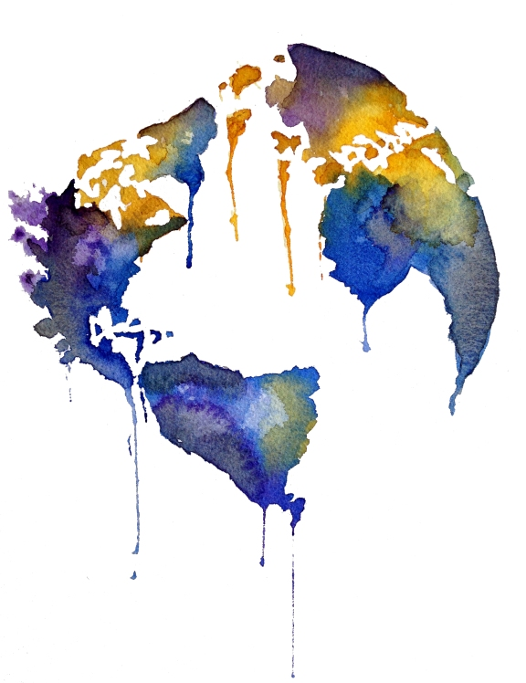 watercolor globe world