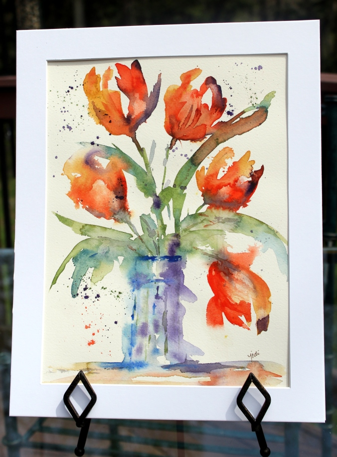 Original Watercolor 9x12 matted to 11x14 impressionistic tulips in jar