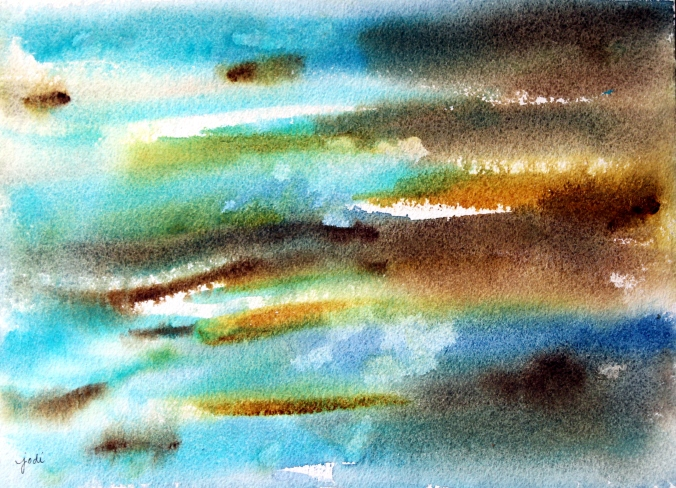 Punta Cana Ocean Abstract Watercolor 10x14