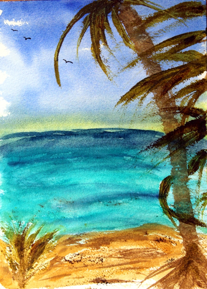 Punta Cana Ocean Beach Palm Tree Watercolor 10x14