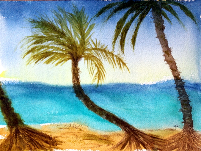 Punta Cana Ocean Beach Palm Trees Watercolor 10x14