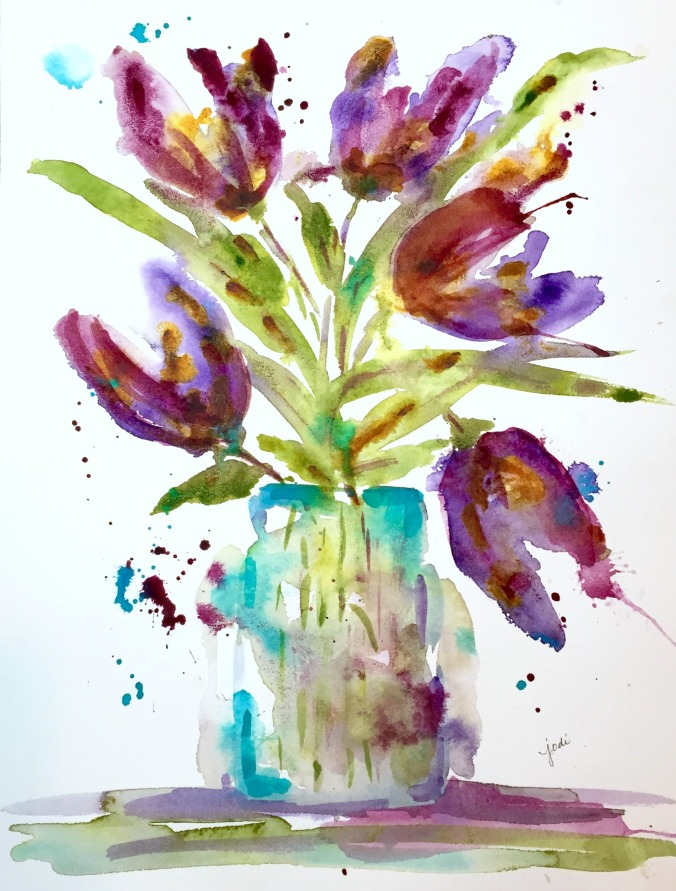 Purple violet watercolor tulips