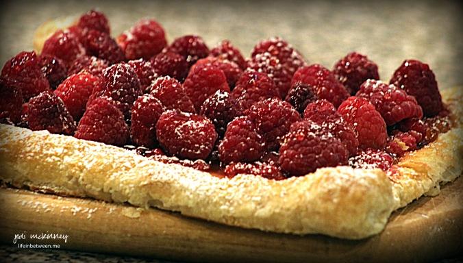 red raspberry puff pastry tart 1