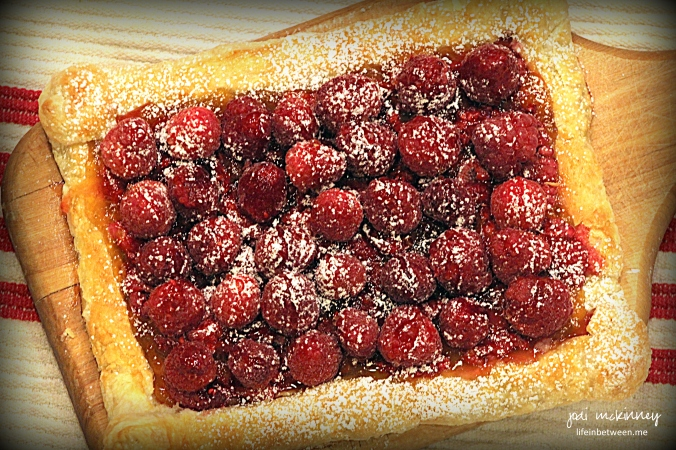 red raspberry puff pastry tart